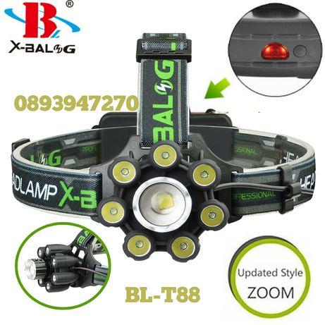 Челник-фенер за глава с акумулаторни батерии и 8 LED Диода/ZOOM