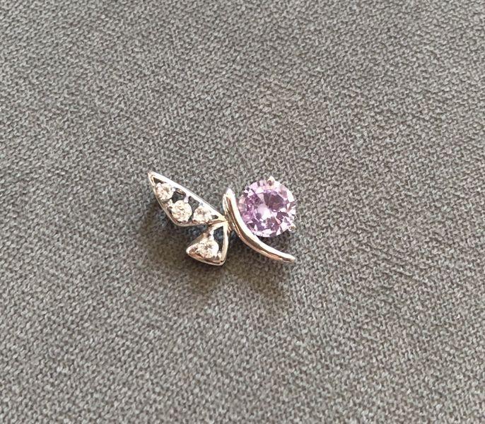 Сребърна висулка пеперуда с лилав камък с. Медени поляни - image 1