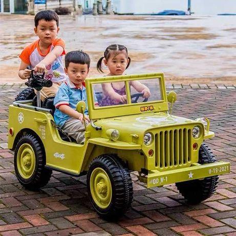 Masinuta electric AMERICAN Jeep Army 4X4 PENTRU 3 COPII #Beige