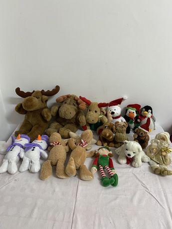 Decoratiune CRĂCIUN lot 16 bucăți jucărie din pluș diverse modele