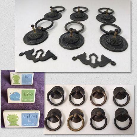 Френски винтидж дръжки за мебели метал месинг детски дърво жаба охлюв