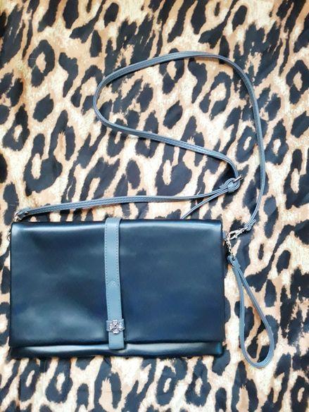 Черна чанта клъч с дълга и къса дръжка