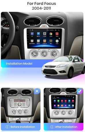 Navigatie Android Ford Focus 2 Mk2 - display 9 inch + Rama speciala