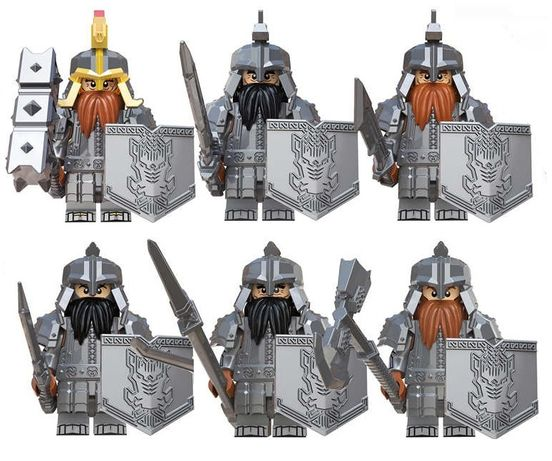 Set 6 minifigurine tip LEGO The Hobbit, Dwarven Army, custom design
