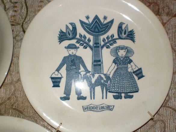 3бр. Декоративни порцеланови ръчно рисувани чинии за стена