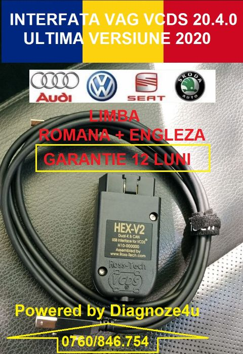 Interfata VCDS Vag Com 20.12 HEX V2 Engleza + Romana, Best Quality ! Craiova - imagine 1