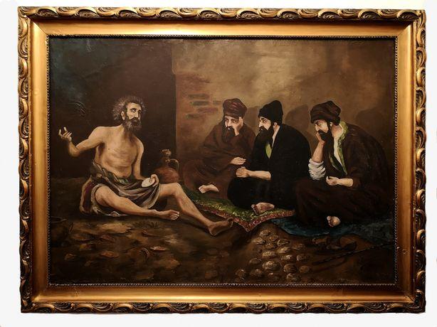 Iov, cei trei prieteni și iertarea tablou ulei pânză dublată