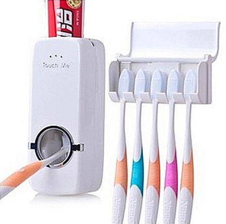 Поставка за четки за зъби + диспенсър за паста - комплект за миене на