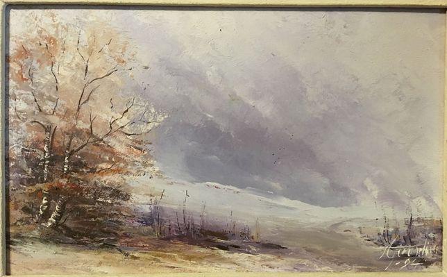 Aparaschivei - Peisaj de iarnă (ulei pe pânză, 1994, 34,5x25 cm.)