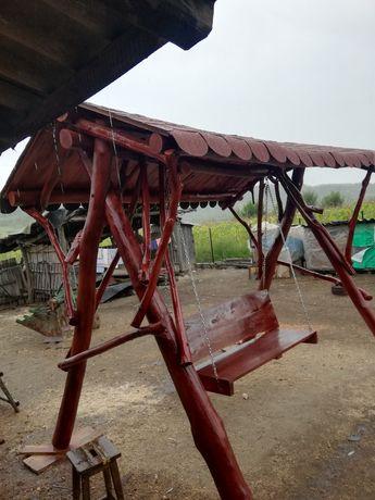 Leagăn  balansoar rustic lemn gradina