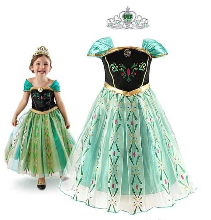 Ефирна Рокля На Принцеса Ана от Замръзналото Кралство + ПОДАРЪК Корона