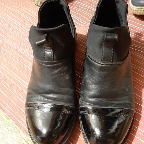 Женские ботинки весна осень чёрные, кожаные,