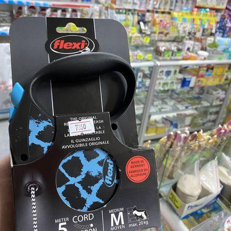 Поводок Рулетка для собак flexi 5 метров синяя