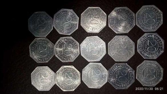 Лот монети 20 пфенинга 1918-1919г нотгелд