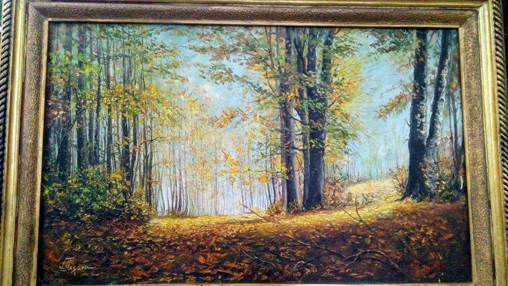 """"""" Toamna """", 1956, tablou de muzeu, Flesaru, rama stejar sculptată, u/p Bucuresti - imagine 1"""