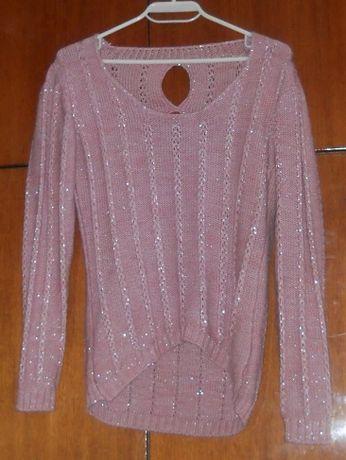 Плетен пуловер с блестящи нишки