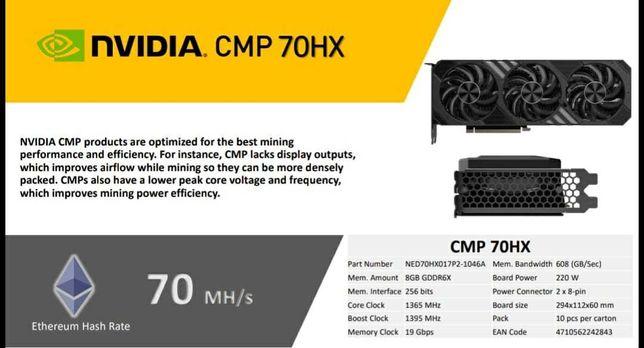 Лучшее предложение для майнинга! Видеокарты Palit CMP 70HX - 84 Mhs/s