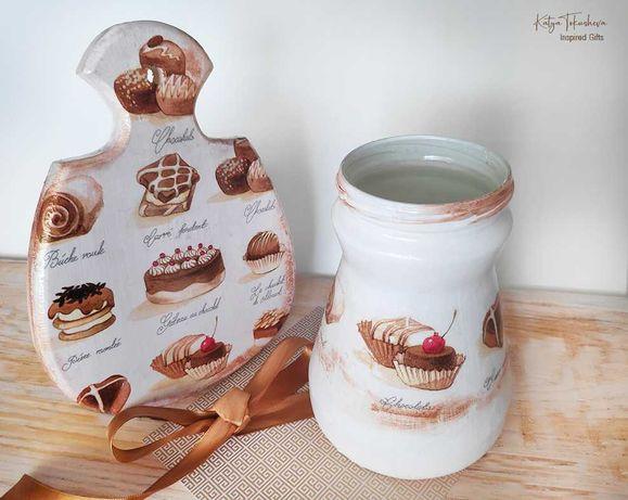 "Комплект декоративна дъска и буркан 'Sweets"""