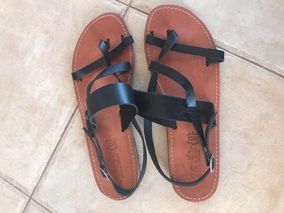 Дамски Кожени сандали гръцки стил