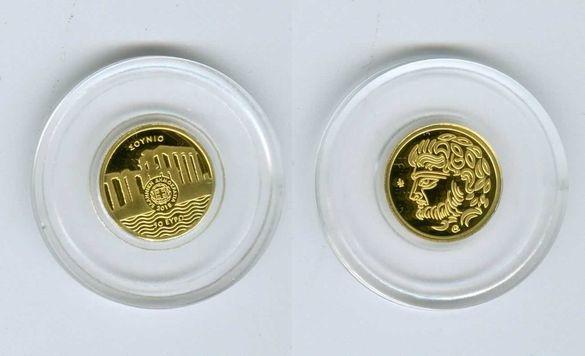 """Гръцка златна колекционерска монета """"Храмът на Посейдон"""" 2018"""