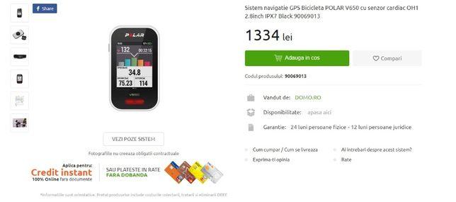 Sistem navigatie GPS Bicicleta POLAR V650 cu senzor cardiac nou