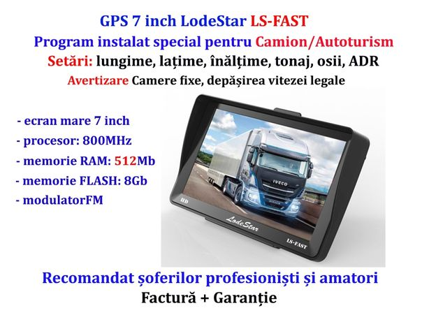 "Navigator GPS 7""HD pentru: Camioane/TIR/Camion, harti iGO Primo Europa"