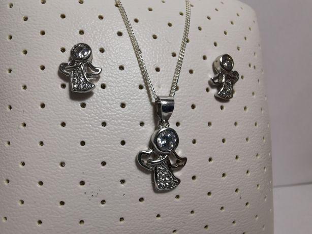 Set argint model Înger - lant, pandantiv si cercei - cadou bijuterii