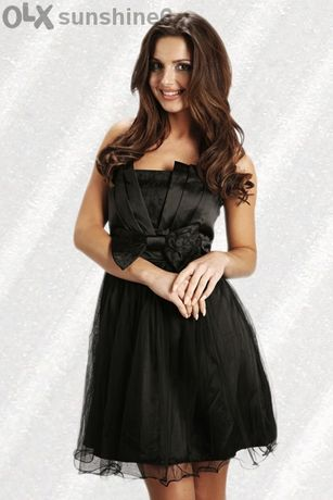 ПРОМОЦИЯ Черна сатенена рокля с дантела и панделка