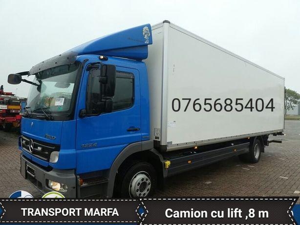 Transport marfa camion cu lift ,servicii mutari mobila.Ofer manipulant