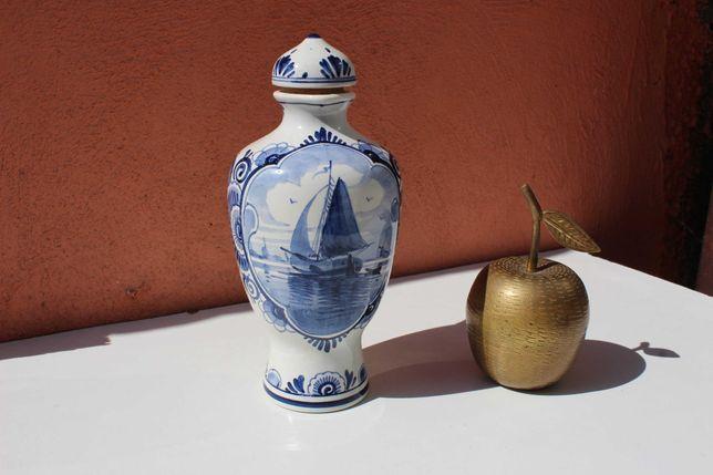 Sticla Vintage, portelan DELFT - PYRAMIDE, Holland, pt ulei sau otet