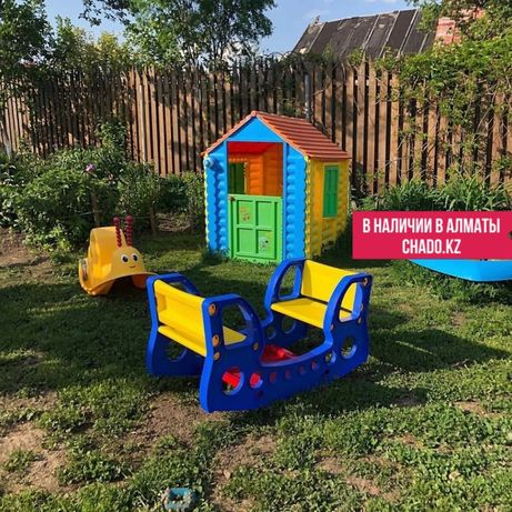 Новый игровой домик для детей, детские горки.