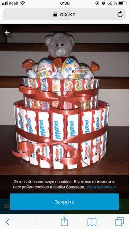 Киндер торты. Шоколадный букет. Сладости Алматы.