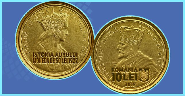 Moneda Aur BNR istoria aurului R Ferdinand R Maria Cadou monede Proof