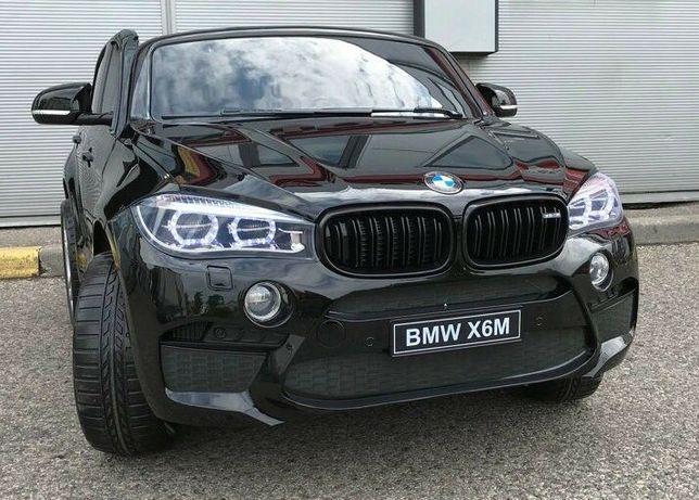 Masinuta electrica pentru 2 copii BMW X6M 2x120W, scaun tapitat #Negru