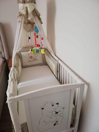 Pătuț pentru copii din lemn masiv alb