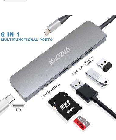 USB C hub adaptor 3x USB 3.0, cititor carduri Multi-port MacBook Pro