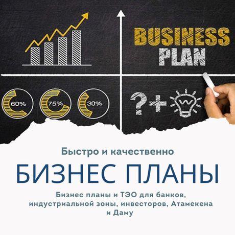 Бизнес планы, ТЭО для банков, акимата, даму и инвесторов