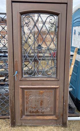 Usa casa vila firma intrare lemn geam vitraliu f. forjat H 210 x L 100