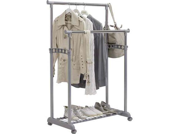 Двоен щендер за дрехи с рафт и регулируема височина