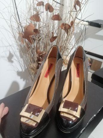 Обувки лачени, лак с тока, висок ток