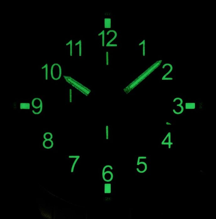 Ceas ASTROAVIA Fosforescent Iluminare Cronograf Militar Nou Otel Inox