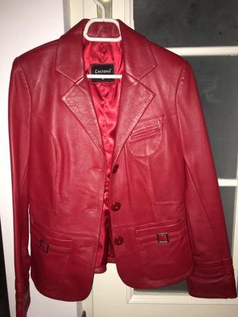 Scurta geaca sacou haina din piele rosie, marimea M