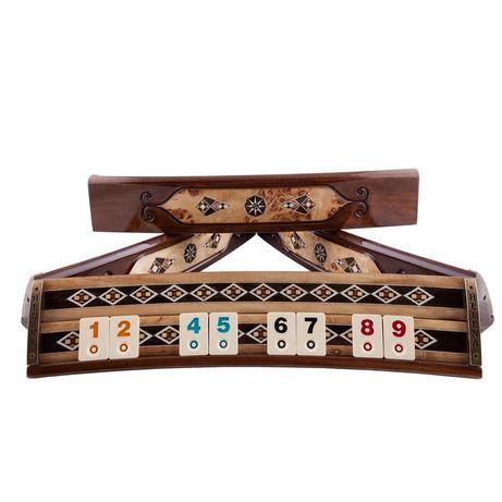 Joc remi, rummy din lemn masiv si sidef sculptate manual. 2643