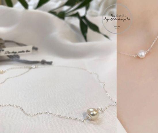 Colier din argint cu perla naturala alba 8-9 mm, 40 cm, pret 70 lei.