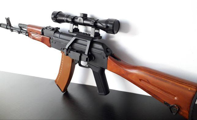 Ak47 FULL METAL cu lemn AEG arma asalt airsoft (pusca pistol M4A1 G36)