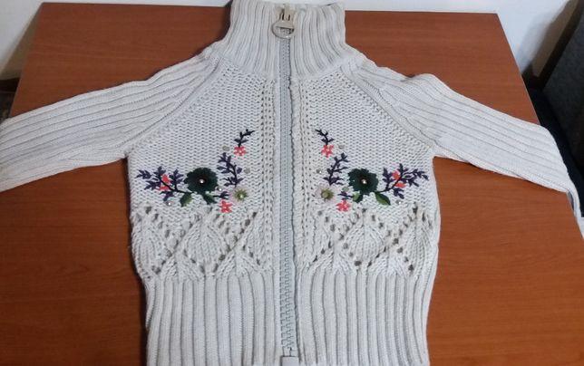 pulover damă/fete cu fermoar și broderie, mărimea 40-42