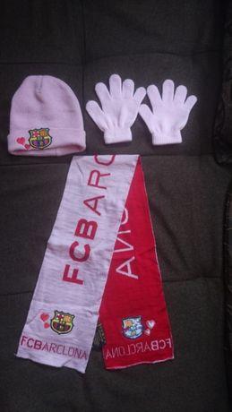 оригинален комплект за фенове на FC BARCELONA- шал, шапка и ръкавици