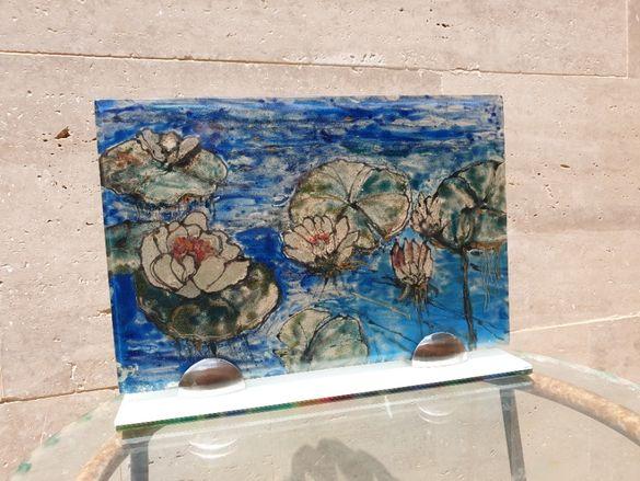"""Картина рисувана върху стъкло """"Лилии""""."""