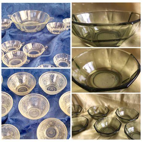 Стъкллени съдове! 12,6,11 броя с дръжки и купа.Поднос и четири чинийки