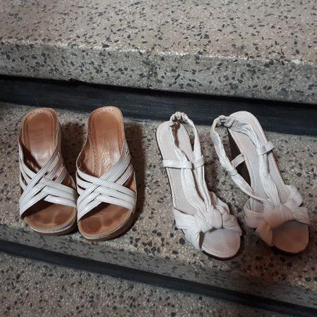 Бели сандали и чехли естествена кожа